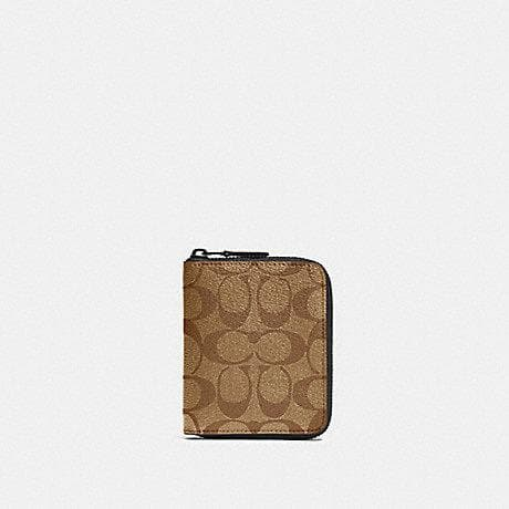 Coach Signature Medium Zip Around Wallet 91290 In Tan