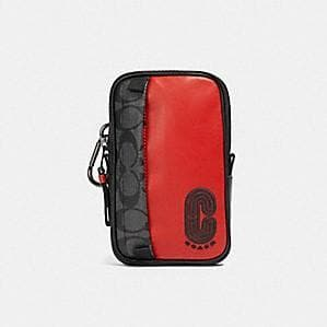Coach Signature NS Hybrid Pouch With Coach Patch 91301 In Sport Red Charcoal