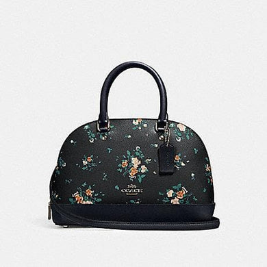 Coach Mini Sierra Satchel With Rose Bouquet Print 91430 (SV/Midnight Multi)