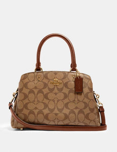 Coach Signature Mini Lillie Carryall Bag 91494 In Khaki Saddle 2