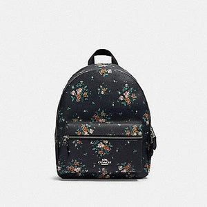 Coach Medium Charlie Backpack With Rose Bouquet Print 91530 (SV/Midnight Multi)