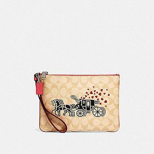 Coach Signature Gallery Pouch With Horse Carriage Print 91543 In Khaki Poppy Multi