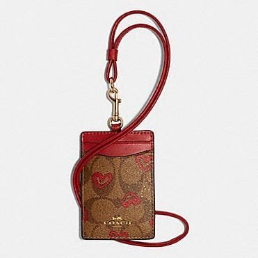 Coach Signature ID Lanyard With Heart Print 91566 In Khaki Red Multi