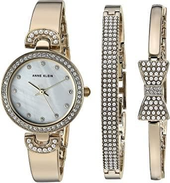 Anne Klein Swarovski Crystal Accented Watch and Bangle Set AK-3466GPST