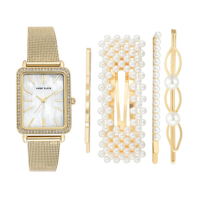 (PREORDER) Anne Klein Gold Mesh Bracelet Watch Set AK-3642GBST