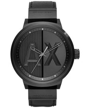 Load image into Gallery viewer, ARMANI EXCHANGE ATLC Black Dial Black Leather Men's Quartz Watch AX1366