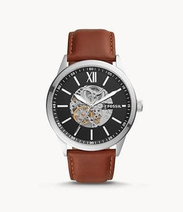 Fossil Flynn Automatic BQ2386 Brown Leather Strap Watch