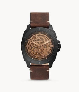 (AS IS) Fossil Privateer Sport Mechanical BQ2429 Brown Leather Watch