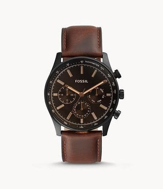 ( AS IS ) Fossil Sullivan Multifunction BQ2457 Brown Leather Watch