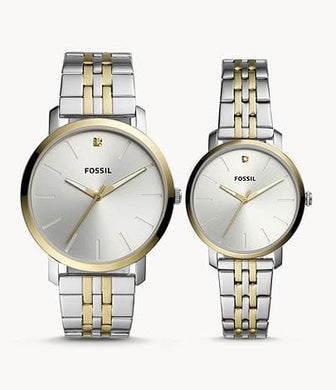Fossil Couple Watch His and Her Lux Luther Three-Hand BQ2467SET Two-Tone Stainless Steel Watch Gift Set