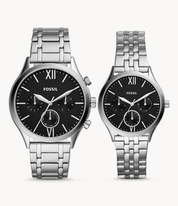Fossil His and Her BQ2469SET Fenmore Midsize Multifunction Stainless Steel Watch Gift Set