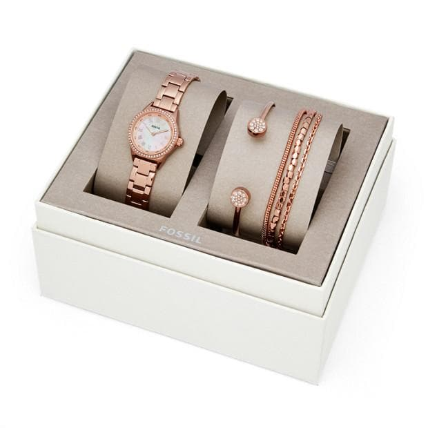 Fossil Women's Blythe Rose Gold Tone BQ3148SET Jewelry Gift Set Watch