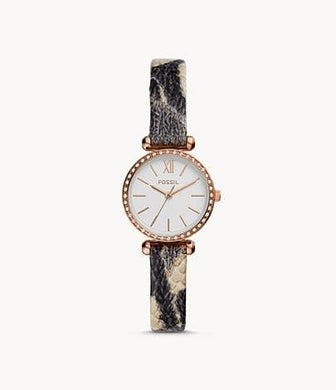Fossil BQ3533 Tillie Mini Three-Hand Grey Leather Watch