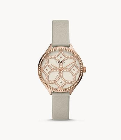 Fossil Women's Suitor Three-Hand BQ3553 Grey Leather Strap Watch