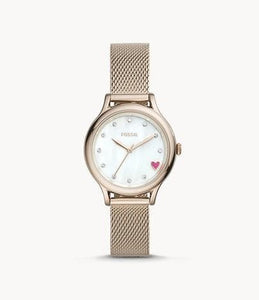 Fossil  Laney Three Hand BQ3594 Pastel Pink Stainless Steel Watch