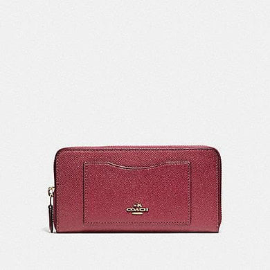 COACH ACCORDION ZIP WALLET F54007 (LIGHT GOLD/ROUGE)