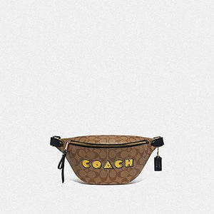 COACH BELT BAG IN SIGNATURE CANVAS WITH PAC-MAN COACH PRINT F72910 (KHAKI MULTI /GOLD)