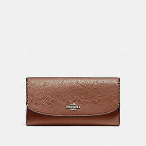 COACH CHECKBOOK WALLET IN POLISHED PEBBLE LEATHER F16613 (LIGHT GOLD/SADDLE 2)