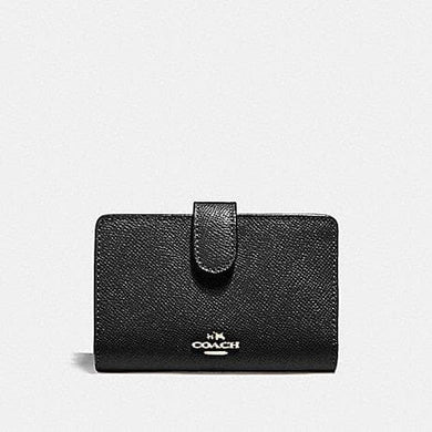 COACH CROSGRAIN LEATHER MEDIUM CORNER ZIP WALLET F11484 (BLACK/SILVER)