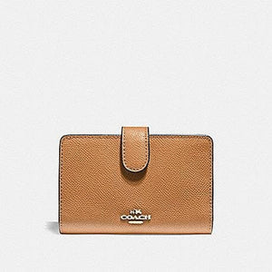 COACH CROSGRAIN LEATHER MEDIUM CORNER ZIP WALLET F11484 (LIGHT SADDLE/LIGHT GOLD)