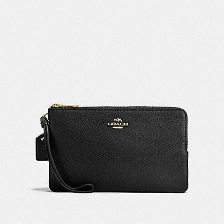 COACH DOUBLE ZIP WALLET F87587 (IMITATION GOLD/BLACK)