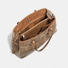 Load image into Gallery viewer, Coach Signature Drawstring Carryall Shoulder Bag F57842 In Khaki Saddle