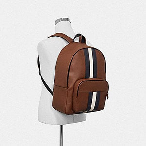 Coach Houston Backpack with Varsity Stripe F49324 (Black/Denim/Midnight Navy/Black Antique Nickel)