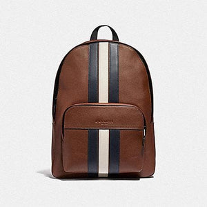 COACH HOUSTON BACKPACK WITH VARSITY STRIPE F49324 (SADDLE/MIDNIGHT NVY/CHALK/BLACK ANTIQUE NICKEL)