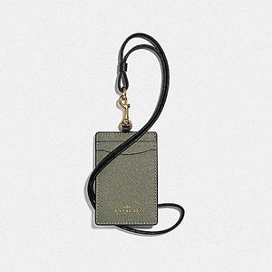 COACH LANYARD ID IN COLORBLOCK F77903 (MILITARY GREEN MUTLI/GOLD)