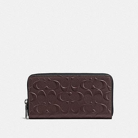 Coach Accordion Zip Wallet With Embossed Signature Leather F58113 In Mahogany