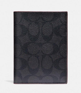COACH PASSPORT CASE SIGNATURE F26074 (BLACK/BLACK/OXBLOOD)