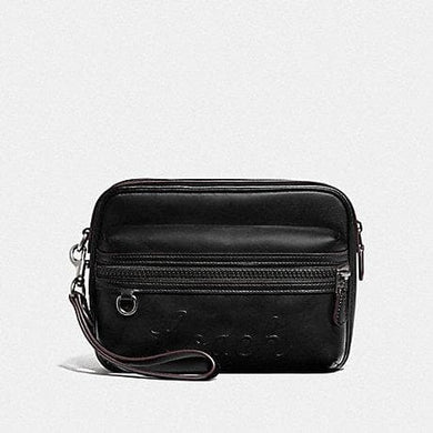 COACH TERRAIN POUCH WITH COACH SCRIPT F76861 (BLACK)