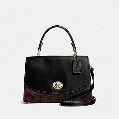 COACH TILLY TOP HANDLE SATCHEL WITH SIGNATURE CANVAS F76620 (BROWN/BLACK/GOLD)