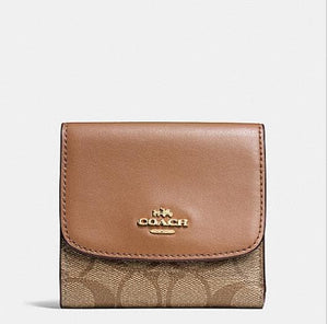 COACH SMALL WALLET IN SIGNATURE CANVAS F87589 (KHAKI/SADDLE)