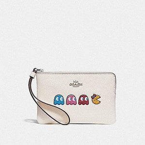 COACH WRISTLET CORNER ZIP WITH MS PAC-MAN F73449 (CHALK MULTI/SILVER)