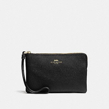 Coach Corner Zip Wristlet F58032 In Black