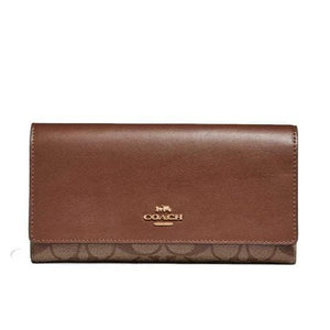 Coach Signature Trifold Wallet F88024 In Khaki Saddle