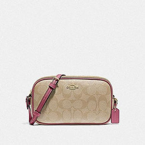 COACH CROSSBODY POUCH IN SIGNATURE CANVAS F77996 (LIGHT KHAKI/ROUGE/GOLD)