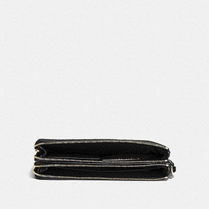 Coach Signature Double Zip Wallet F16109 In Brown Black