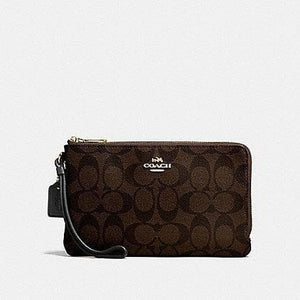 COACH DOUBLE ZIP WALLET IN SIGNATURE CANVAS F16109 (BROWN/BLACK/IMITATION GOLD)