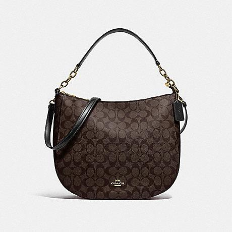 COACH HANDBAG ELLE HOBO IN SIGNATURE CANVAS F39527 (BROWN/BLACK/LIGHT GOLD)