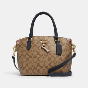 Coach Signature Remi 2318 Satchel Bag In Khaki Midnight Multi