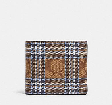 Coach 3-In-1 Wallet in Signature Canvas with Shirting Plaid Print F88071 (Qb/Khaki Blue)