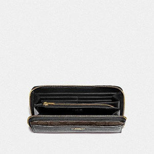 Coach Accordion Zip Wallet with Signature Canvas Detail F76971 (Brown/Black/Gold)