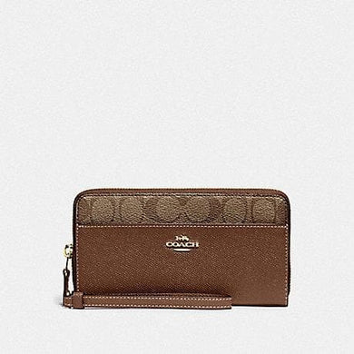 Coach Accordion Zip Wallet with Signature Canvas Detail F76971 (Khaki/Saddle 2/Gold)