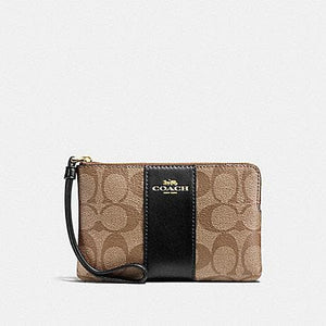 Coach Corner Zip Wristlet in Signature Canvas F58035 (Khaki/Black/Imitation Gold)