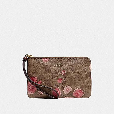 Coach Corner Zip Wristlet in Signature Canvas with Prairie Daisy Cluster Print F78045 (Khaki Coral Multi/Imitation Gold)