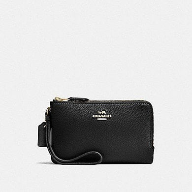 Coach Double Corner Zip Wallet in Polished Pebble Leather F87590 (Imitation Gold/Black)