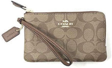 Load image into Gallery viewer, Coach Double Corner Zip Wristlet F87591 (Light Gold/Khaki)