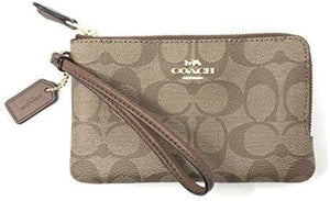 Coach Double Corner Zip Wristlet F87591 (Light Gold/Khaki)